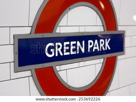 LONDON, UK - FEB 2015 - London Underground tube station sign at Green Park - stock photo