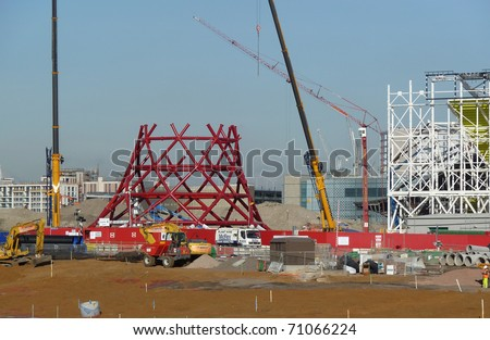 LONDON, UK-FEBRUARY 8: Construction of Anish Kapoor's Sculpture The Orbit Tower in the Olympic Park, which will house a gallery, cafe and viewing platforms. February 8, 2011 in London, UK.