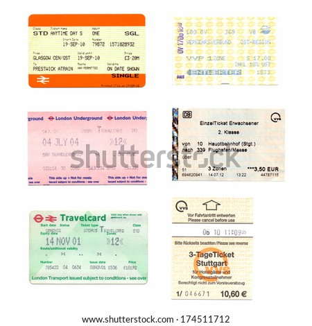 LONDON, UK - FEBRUARY 01, 2014: Illustrative editorial British and German public transport tickets for train bus and subway - stock photo
