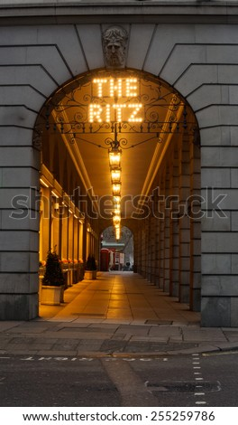 LONDON, UK - February15, 2015: The covered walkway outside the  historic Ritz Hotel in London - stock photo