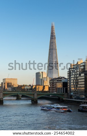 LONDON/UK - FEBRUARY 18 : The Shard in London on February 18, 2015. Unidentified people. - stock photo