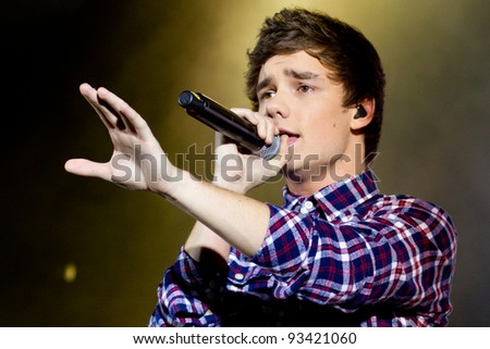 LONDON, UK - JAN. 23:Liam Payne From One Direction Play the Apollo in London on the January 23, 2012 in London, UK - stock photo
