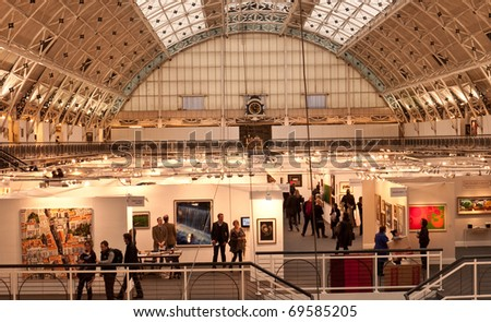LONDON, UK- JANUARY 23: A view of the Prestigious London Art Fair, showing contemporary and modern art from a variety of galleries. January 23, 2011 in London, UK - stock photo