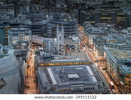 LONDON, UK - JANUARY 27, 2015: London's roads in the night. Panoramic view from the St. Paul cathedral - stock photo