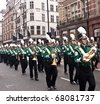 LONDON, UK- JANUARY 1: The Corning Painted Post West High School Marching Band from New York participates in the New Years Day Parade on January 1, 2001 in London, UK. - stock photo