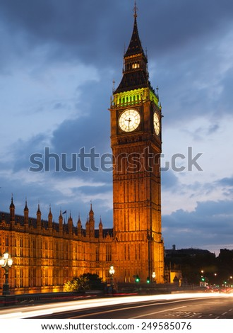 LONDON, UK - July 21, 2014: Big Ben and houses of Parliament in dusk - stock photo