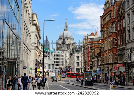 LONDON, UK - JULY 1, 2014: Fleet street in the City of London. It is named after the River Fleet,  London's largest underground river. It was once home of the British newspaper industry. - stock photo