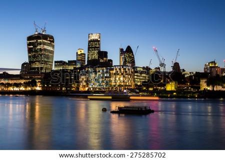 London, UK-July 21, London at night, July 21.2014 in London - stock photo
