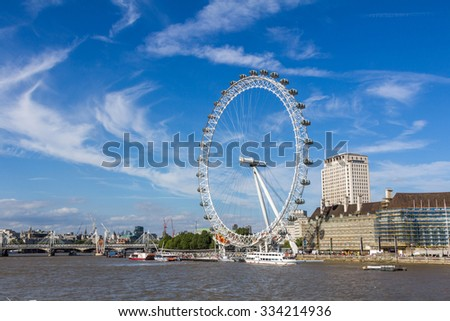 LONDON, UK - JULY 22, 2015: London Eye is a giant Ferris wheel on the South Bank of the River Thames in London.
