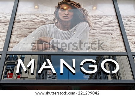 LONDON, UK - JULY 1, 2014: Mango Fashion store exterior view in Oxford Street. Mango is an international clothing design retail chain with 10,000 employees, 2,300 stores in 107 countries worldwide. - stock photo