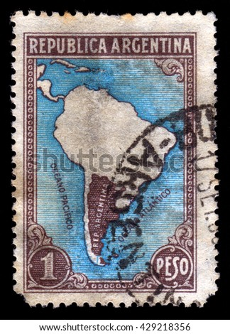 London, UK, July 17 2010 - Old vintage Argentinian postage stamp showing a map of Argentina's national borders