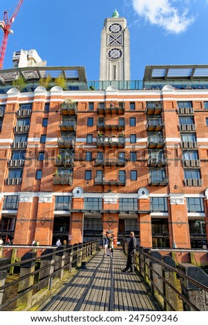 LONDON, UK - JULY 1, 2014: Oxo Tower building located at south Thames embankment in central London. The building was originally constructed as a power station. - stock photo