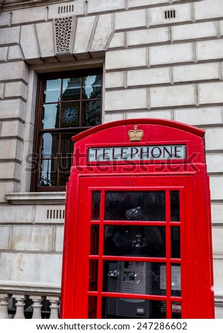 London, UK-July 20, red telephone booth in London, July 20.2014 in London - stock photo