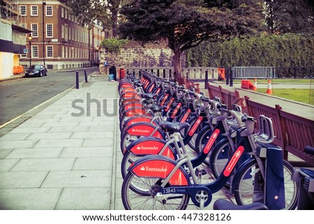 London, UK - July, 03, 2016 - Santander rental bikes for hire outside St. Pancras station, also known as Boris bikes after the Mayor of London. - stock photo