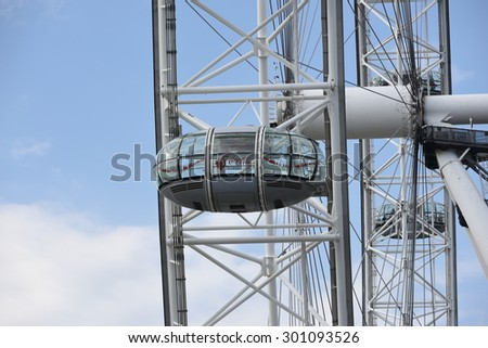 LONDON, UK - JULY 01st, 2015: London Eye - a famous tourist attraction in the capital city London