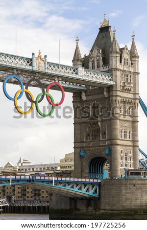 London, UK - July 1: The famous Tower Bridge in London, decorated for the 2012 Summer Olympics on July 1, 2012.