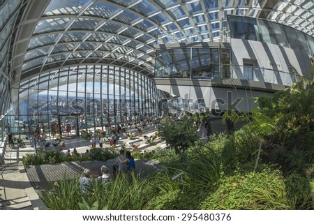 LONDON, UK - JULY 4, 2015: The Sky Garden at 20 Fenchurch Street has been designed to create an open, vibrant place of leisure which offers a chance to experience London from a different viewpoint