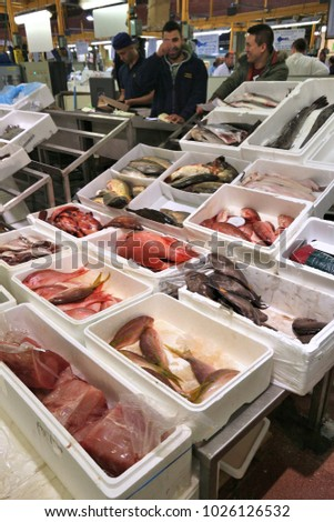 Fish vendor stock images royalty free images vectors for Sea world fish market