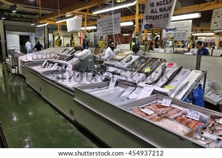 Fresh raw chicken eggs on conveyor stock photo 507666787 for Sea world fish market