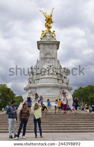 LONDON, UK, July 29, 2010: Victoria Monument on Buckingham Palace roundabout in London, England - stock photo