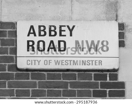 LONDON, UK - JUNE 10, 2015: Abbey Road sign made famous by the 1969 Beatles album cover in black and white
