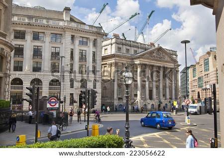 LONDON, UK - JUNE 30, 2014: Bank of England. Square and underground station LONDON, UK - JUNE 30, 2014: Bank of England. Square and underground station - stock photo