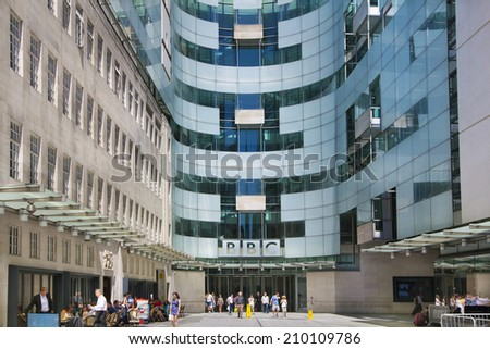 LONDON, UK - JUNE 3, 2014: BBC head office and square in frond of main entrance  - stock photo