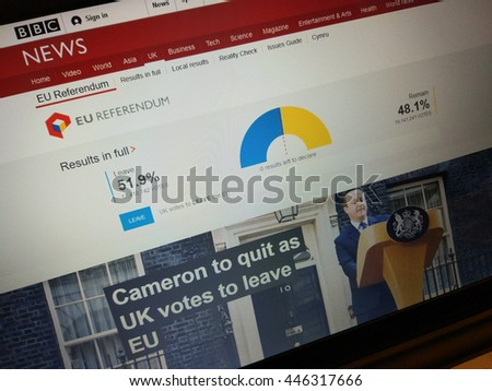 LONDON, UK - JUNE 24, 2016: BBC News website reports EU Referendum results on June 24, 2016. Prime Minister David Cameron vowed to quit by October after UK voted to leave EU. - stock photo