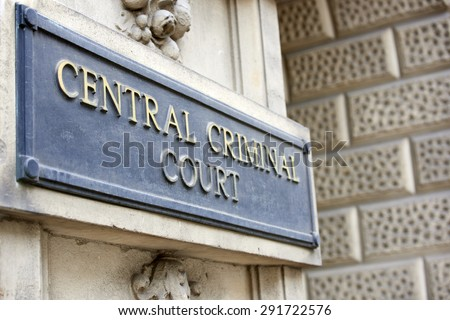 LONDON, UK - JUNE 23: Detail of Central Criminal Court plaque outside the building. June 23, 2015 in London. - stock photo