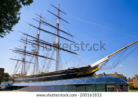 LONDON UK - JUNE 6, 2014: English fast clipper of 19 century preserved and open like a museum
