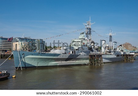 LONDON, UK - JUNE 11, 2015: HMS Belfast ship originally a Royal Navy light cruiser is now permanently moored on the River Thames as a museum ship