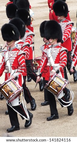 LONDON, UK- JUNE 8 2013: Major General's review for Trooping the Color, Horse Guard. Troops band drummers rehearse for the Queen's birthday parade.. London June 8 2013 - stock photo