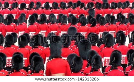 LONDON, UK- JUNE 8 2013: Major General's review for Trooping the Color, Horse Guard. Troops line up in the bearskins.. London June 8 2013 - stock photo