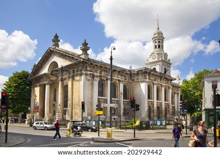 LONDON, UK - JUNE 17, 2014: Old street Greenwich view with local church - stock photo