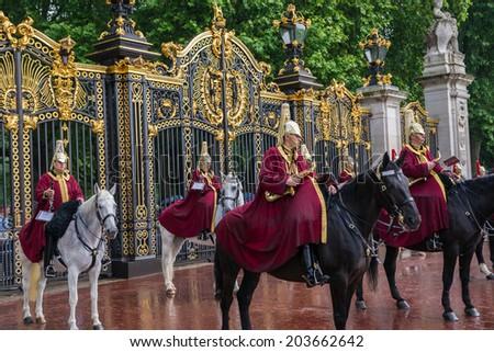 LONDON, UK - JUNE 7, 2014: Queen's Bands at Queen's Birthday Parade. Queen's Birthday Parade take place to Celebrate Queen's Official Birthday on June 7, 2014 in London, UK. - stock photo