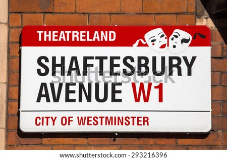 LONDON, UK - JUNE 30TH 2015: A street sign for Shaftesbury Avenue in London on 30th June 2015. The street is famous for being the location of many theatres and is part of an area known as Theatreland. - stock photo