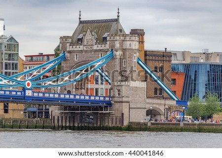 London/UK. June 19th 2016. The southern section of London's iconic Tower Bridge, built between 1886-1894. - stock photo