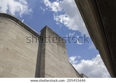 LONDON, UK - JUNE 21 2014: The Brutalist architecture of the Southbank Centre, National Film Theatre, London. - stock photo