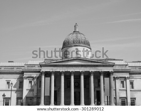 LONDON, UK - JUNE 11, 2015: The National Gallery in Trafalgar Square in black and white