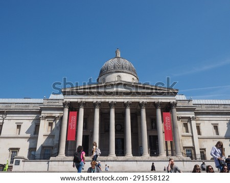 LONDON, UK - JUNE 11, 2015: Tourists visiting Trafalgar Square in front of the National Gallery