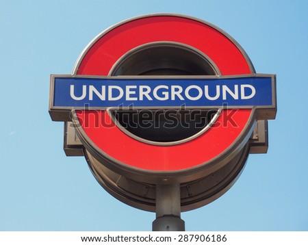 LONDON, UK - JUNE 11, 2015: Tube sign of London Underground subway - stock photo