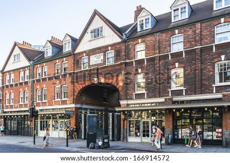 LONDON, UK - JUNE 3, 2013: View of old Spitalfields Market - covered market in Spitalfields, just outside City of London, in London Borough of Tower Hamlets (tube station Liverpool Street). - stock photo
