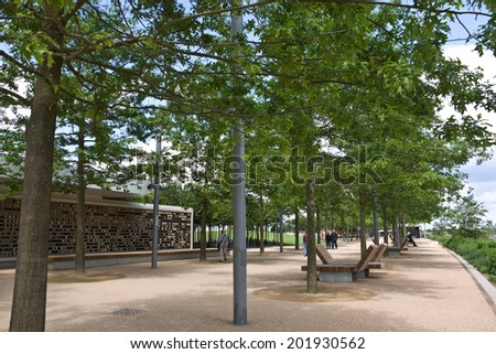LONDON,UK-JUNE 7: View of the Queen Elizabeth Olympic Park, London's newest park formed as a legacy after the Games has parkland, waterways and world class sporting venues. June 7 2014  in London  UK. - stock photo
