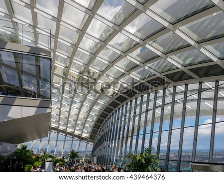 LONDON/UK - JUNE 15 : View of the Sky Garden in London on June 15, 2016. Unidentified people
