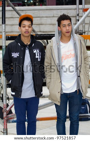 "LONDON, UK - MAR. 13: The Rizzle Kicks (Jordan ""Rizzle"" Stephens and Harley ""Sylvester"" Alexander-Sule) perform  in London on the Mar 13, 2012 in London, UK"
