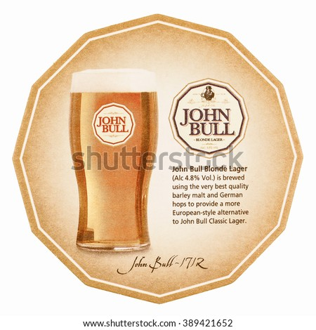 LONDON, UK - MARCH 15, 2015: Beermat of British beer Eagle BitterJohn Bull isolated over white background vintage