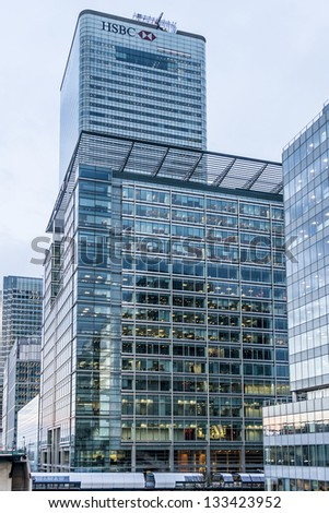 LONDON, UK - MARCH 17: HSBC UK Head Quarter on March 17, 2013 in London, UK. HSBC's World Head Quarters based in Canary Wharf is the world's third-largest bank and sixth-largest public company. - stock photo