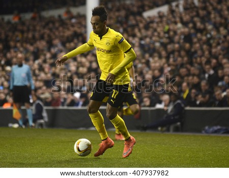 LONDON, UK - MARCH 17, 2016: Pierre Emerick Aubameyang of Borussia pictured in action during the UEFA Europa League last 16 game between Tottenham Hotspur and Borussia Dortmund on White Hart Lane. - stock photo