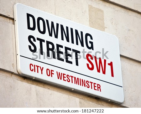 LONDON, UK - MARCH 9TH 2014: Downing Street in Westminster, London onthe 9th March 2014. - stock photo