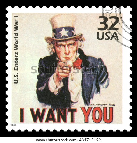 London, UK, March, 22, 2012 - Vintage 1998 United States of America cancelled postage stamp  showing an image of Uncle Sam from World War One  saying I want you - stock photo
